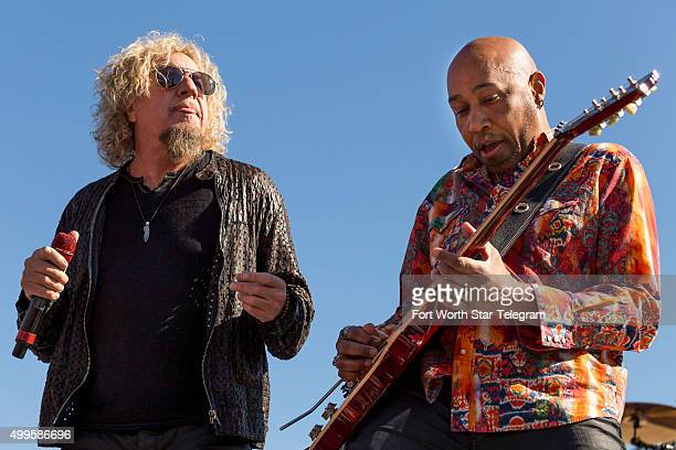 ammy Hagar left and Vic Johnson jam out to Good Times Bad Times a Led Zeppelin song during the concert before the AAA Texas 500 on Nov 8 2015 in Fort...