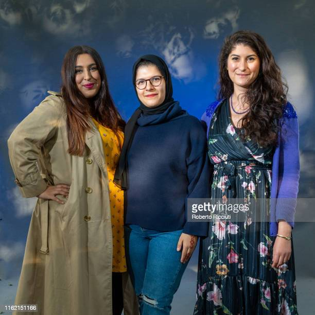 Amna Saleem, Mariam Khan and Nadine Aisha Jassat attend a photocall during the Edinburgh International Book Festival 2019 on August 17, 2019 in...