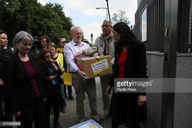 TIERGARTENSTRASSE BERLIN GERMANY Amnesty International activists held a protest demanding the release of blogger Raif Badawi and to stop torture in...