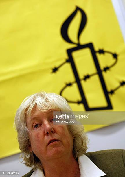 Amnesty International Europe and Middle Asia program director Nicola Duckworth gives a press conference on the 'Violent attacks against Roma In...