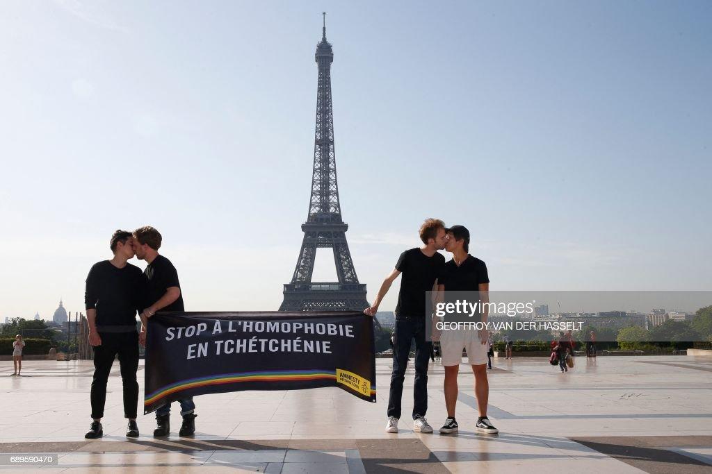 TOPSHOT-FRANCE-CHECHNYA-RUSSIA-LBTG-RIGHTS : News Photo