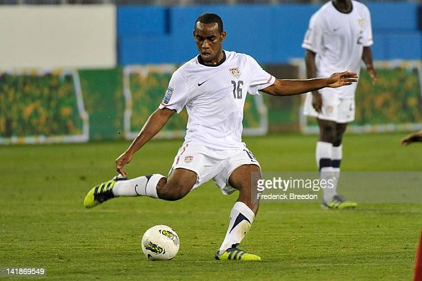 Amobi Okugo of the USA plays against Cuba in a Men's Olympic Qualifying match at LP Field on March 22 2012 in Nashville Tennessee