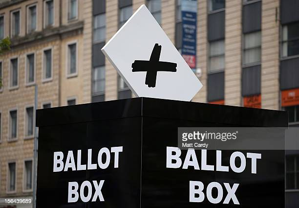 Amock ballot box to encourage people to vote in the Bristol mayoral election on November 15 2012 in Bristol England Although attendance is expected...