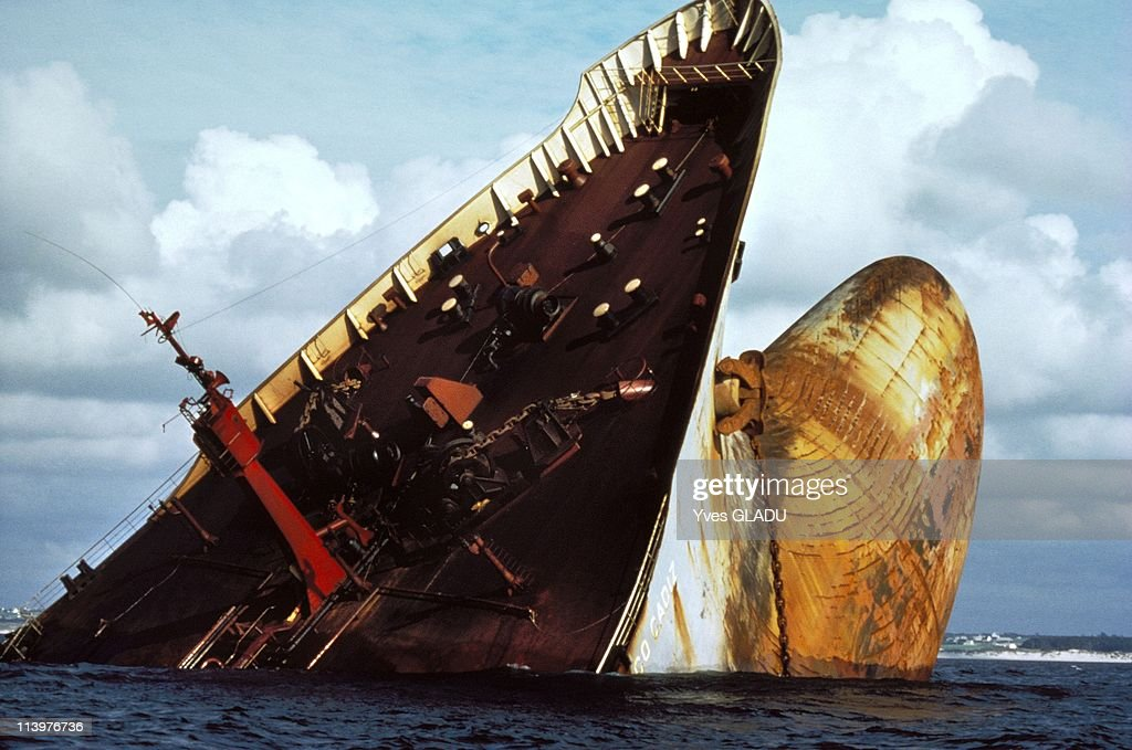 Amoco Cadiz wreck fifteen years after the sinking in France in March, 1978-The stem on June 1978.