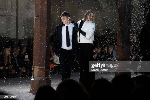 Amodel walks the runway during the Moncler Ready to Wear Autumn/Winter 2011/2012 show during Paris Fashion Week at Couvent des Cordeliers on March 8,...