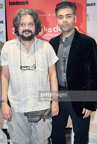 Amol Gupte and Karan Johar at the music launch of 'Stanley Ka Dabba' at Landmark Mumbai on April 21 2011