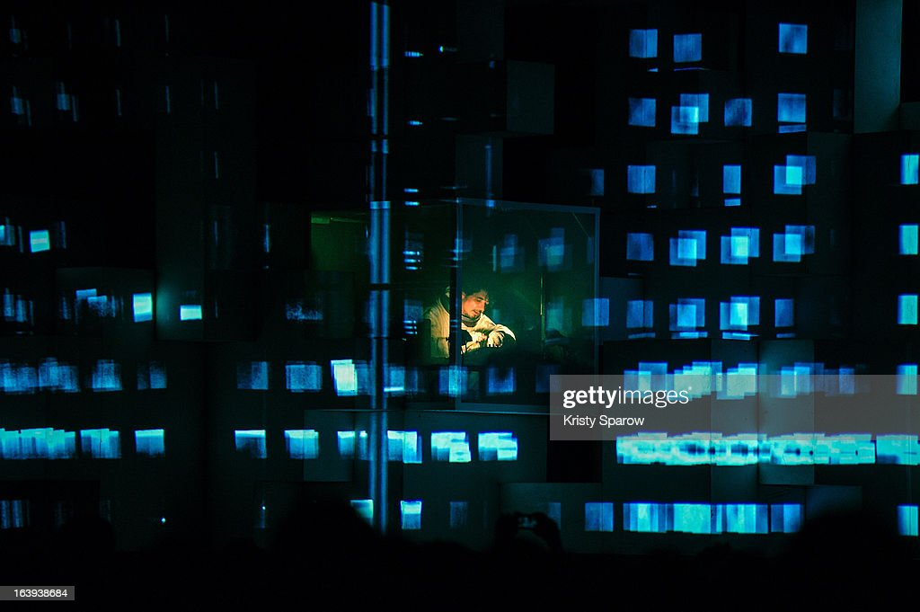 Amon Tobin preforms ISAM live onstage for the last performance after the world tour at the Grande Halle De La Villette on March 13, 2013 in Paris, France.