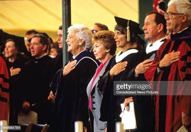 Among faculty members and others American First Lady Barbara Bush and Wife of the President of the Soviet Union Raisa Gorbachev attend graduation...