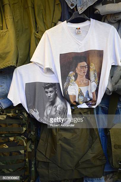 Among items for sale in a Florence Italy clothing shop are Tshirts imprinted with images of Justin Bieber and Frida Kahlo