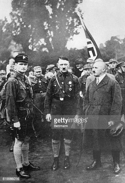 Among Julius Streicher's private files at his estate near Nueremberg was this photo of Adolf Hitler Rudolf Hess and Streicher at a Nuremberg Nazi...