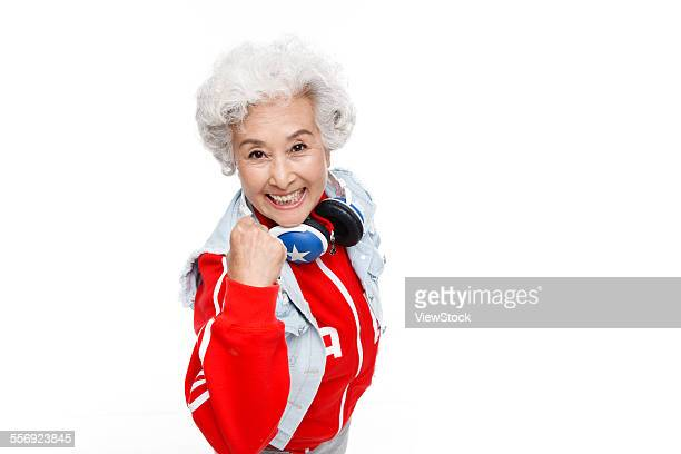 Among the elderly womans fist