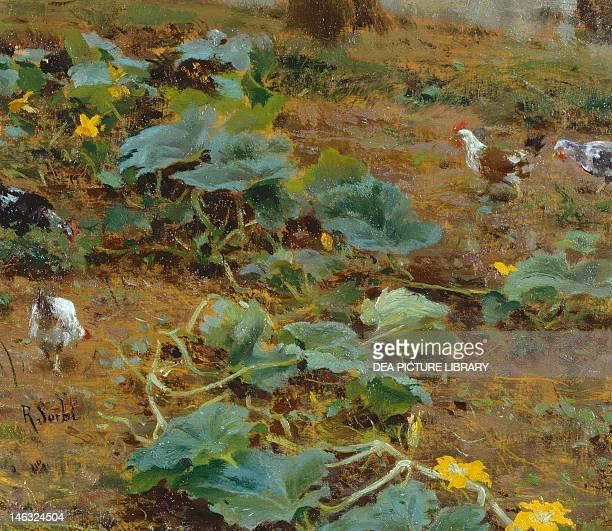 Among the plants of pumpkin 18851890 by Raffaello Sorbi oil on panel 15x10 cm