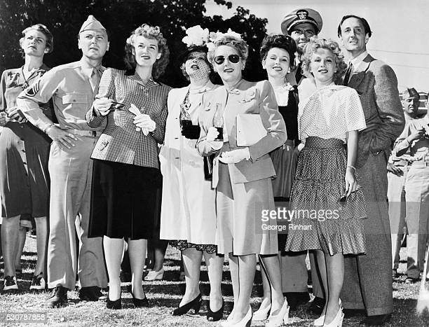 Among the star who participated in the Hollywood Canteen Volunteer Workers picnic were left to right Sergeant Walter Szurovy Mrs Basil Rathbone Mary...