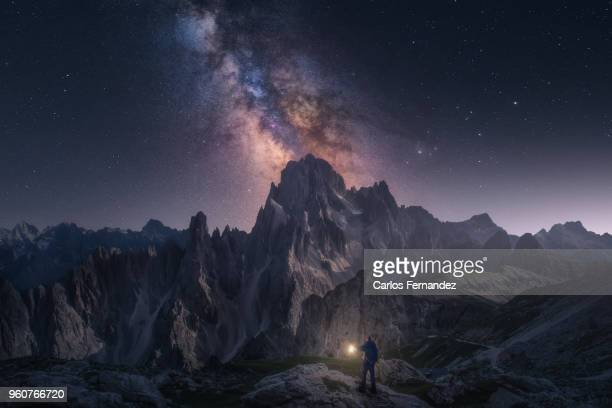 among the stars - dolomites stock pictures, royalty-free photos & images