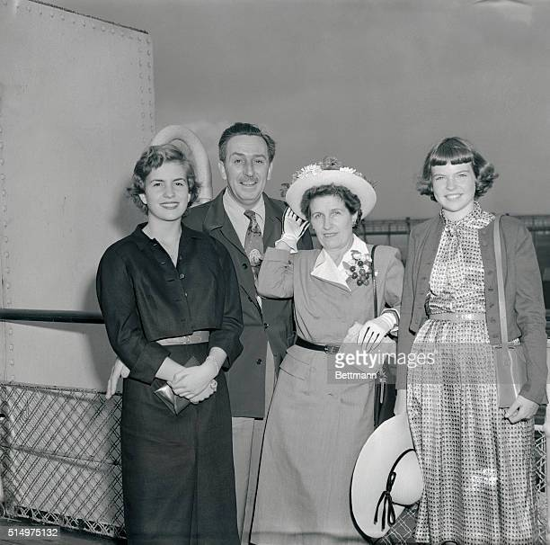 Among the voyagers on the Queen Elizabeth which pulled out for Europe today was the family of Walt Disney Mr and Mrs Disney are shown just before...