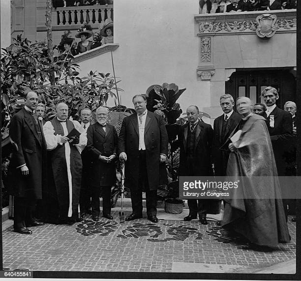 Among those posing with the President are Andrew Carnegie and Elihu Root and Cardinal Gibbons