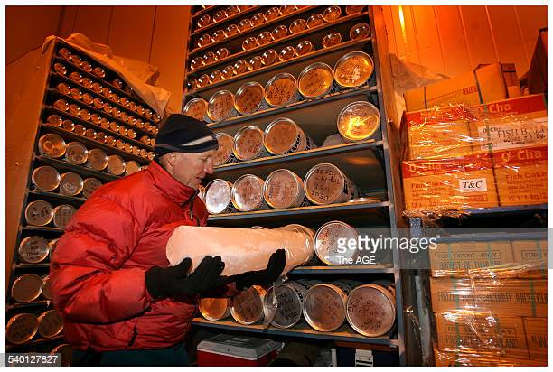 Amongst frozen foods at a Dandenong cold storage facility CSIRO scientist David Etheridge checks on ice core samples from Antarctica Wednesday 17th...