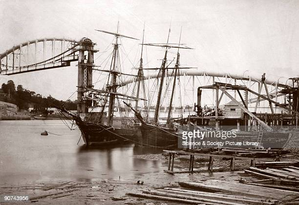 Amongst the first railway photographs were views of major engineering projects such as the construction of Isambard Kingdom Brunel's bridge linking...