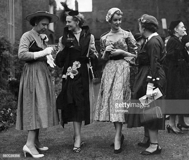 Amongst the guests on the lawn were mannequins wearing some of the glossy clothes of London's top designers Visitor Miss Beth Peterson Sylvia Shelley...