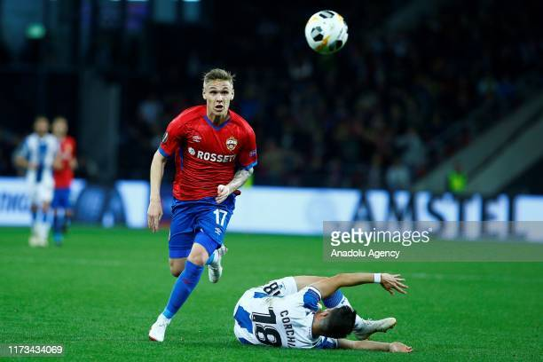 Amor Sigurdsson of CSKA Moskva vies for the ball during the UEFA Europa League Group H match between CSKA Moskva and Espanyol at CSKA Arena in...
