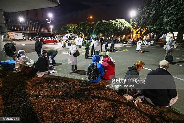 Amora Hotel guests gather in a carpark after an earthquake on November 14 2016 in Wellington New Zealand The 75 magnitude earthquake struck 20km...