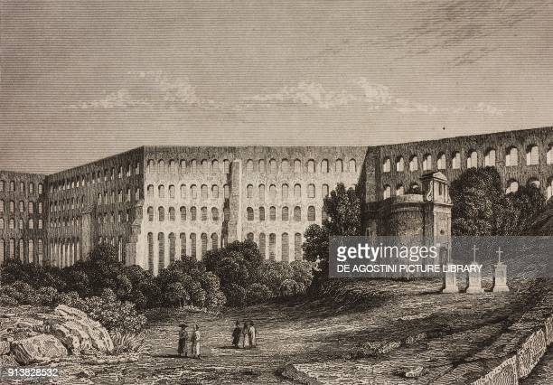 Amoreira Aqueduct Elvas Portugal engraving by Lemaitre from Portugal by Ferdinand Denis L'Univers pittoresque published by Firmin Didot Freres Paris...