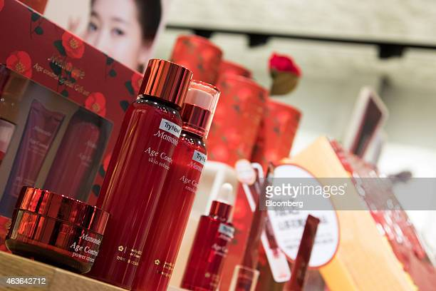 Amorepacific Corp Mamonde cosmetic tester products sit on display at the company's store in the Myeongdong shopping district in Seoul South Korea on...