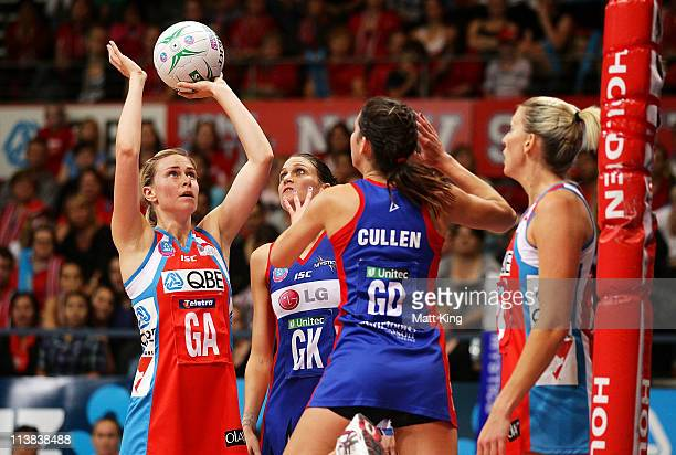 Amorette Wild of the Swifts shoots during the ANZ Championship Semi Final match between the Swifts and the Mystics at Sydney Olympic Park Sports...