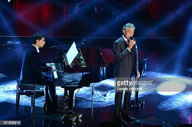 Amos Bocelli and Andrea Bocelli attend the closing night of the 63rd Sanremo Song Festival at the Ariston Theatre on February 16 2013 in Sanremo Italy