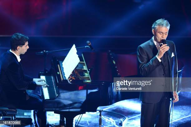 Amos Bocelli and Andrea Bocelli attend the closing night of the 63rd Sanremo Song Festival at the Ariston Theatre on February 16, 2013 in Sanremo,...