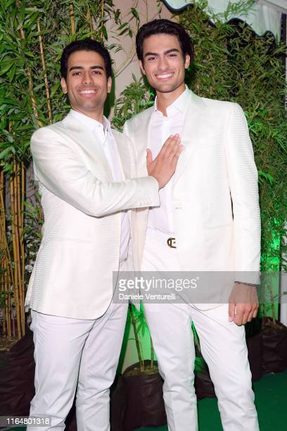 Amos Bocelli and Matteo Bocelli poses at the Andrea Bocelli Celebrity Fight Night 2019 on July 28 2019 in Forte dei Marmi Italy