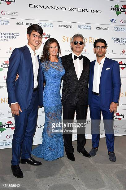 Amos Bocelli Veronica Berti Andrea Bocelli and Matteo Bocelli attend 'Celebrity Fight Night In Italy' Gala at the Palazzo Vecchio on September 7 2014...