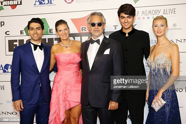 Amos Bocelli Veronica Bocelli Andrea Bocelli Matteo Bocelli and his girlfriend attend the Celebrity Fight Night gala at Palazzo Vecchio during 2015...