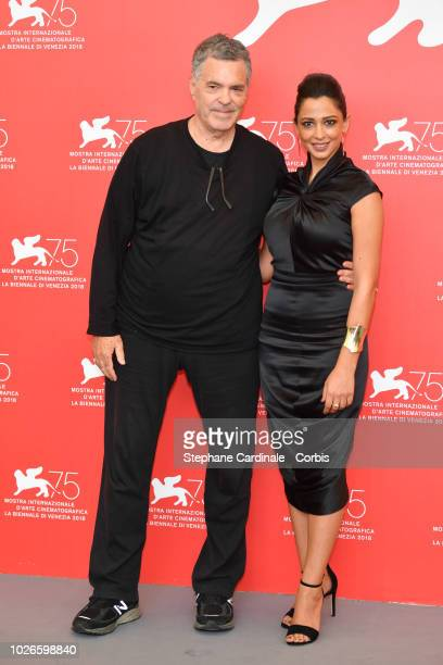 Amos Gitai and Maisa Abd Elhadi attend 'A Letter To A Friend In Gaza' And 'Tramway In Jerusalem' photocall during the 75th Venice Film Festival at...