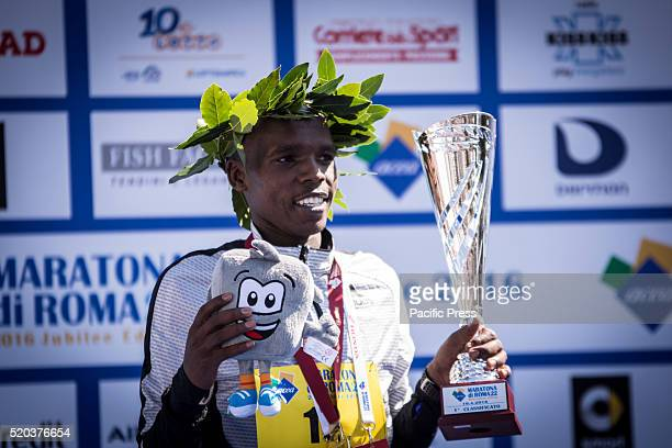 Amos Kipruto during awarding of Rome Marathon 2016 The winners of the marathon in Rome 2016 Kenyan Amos Kipruto was the first to cross the finish...