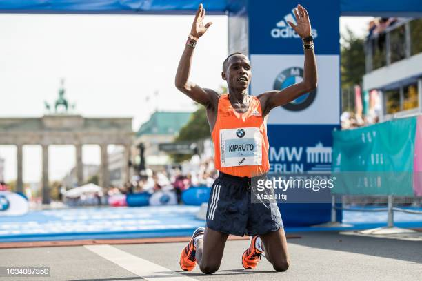 Amos Kipruto of Kenya celebrates after finnishing second during the Berlin Marathon 2018 on September 16 2018 in Berlin Germany