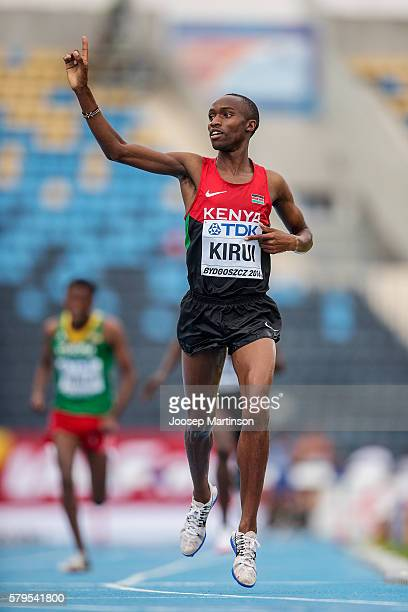 Amos Kirui from Kenya competes in men's 3000 metres steeplechase during the IAAF World U20 Championships at the Zawisza Stadium on July 24 2016 in...