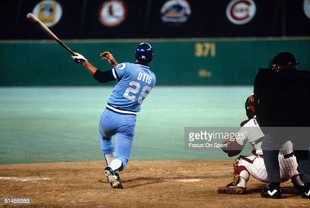 Amos Otis of the Kansas City Royals bats against the Philadelphia Phillies during the World Series at Veterans Stadium in Philadelphia Pennsylvania...