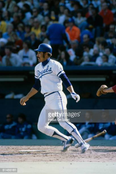 Amos Otis of the Kansas City Royals bats during the World Series against the Philadelphia Phillies at Royals Stadium in Kansas City Missouri in...