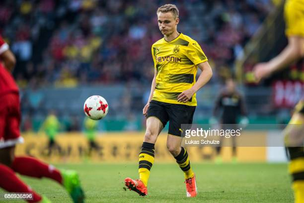 Amos Pieper of Dortmund kicks the ball during the U19 German Championship Final between Borussia Dortmund and FC Bayern Muenchen on May 22 2017 in...
