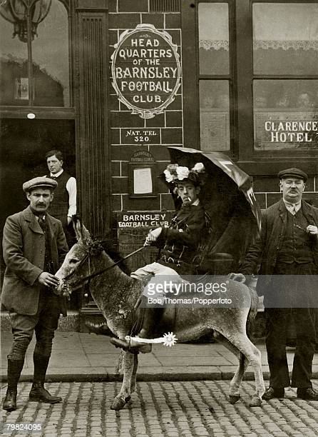 Amos the donkey, Barnsley Football Club's official mascot, pictured with his jockey outside the teams headquarters at The Clarence Hotel in Barnsley...