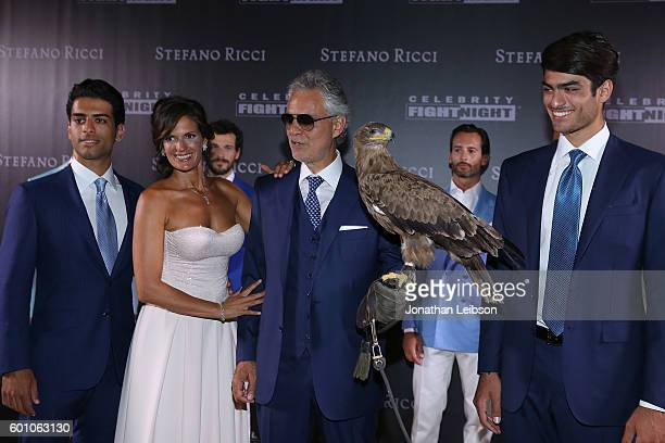 AmosVeronica Andrea and Matteo Bocelli attend the Basilica di Santa Croce Dinner and Reception as part of Celebrity Fight Night Italy benefitting the...