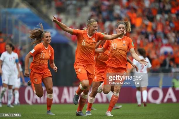 Amouk Dekker of the Netherlands celebrates after scoring her team's first goal during the 2019 FIFA Women's World Cup France group E match between...