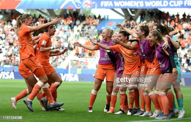 Amouk Dekker of the Netherlands celebrates with teammates after scoring her team's first goal during the 2019 FIFA Women's World Cup France group E...