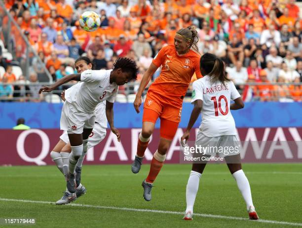 Amouk Dekker of the Netherlands scores her team's first goal during the 2019 FIFA Women's World Cup France group E match between Netherlands and...