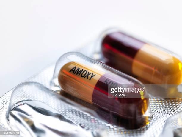 Amoxicillin antibiotic drug capsules
