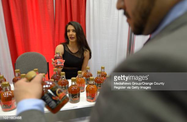 Amparo Barajas shows of Mexican liqueur during the 2014 México Food Fair at the Los Angeles Convention Center on Thursday The food fair is a...