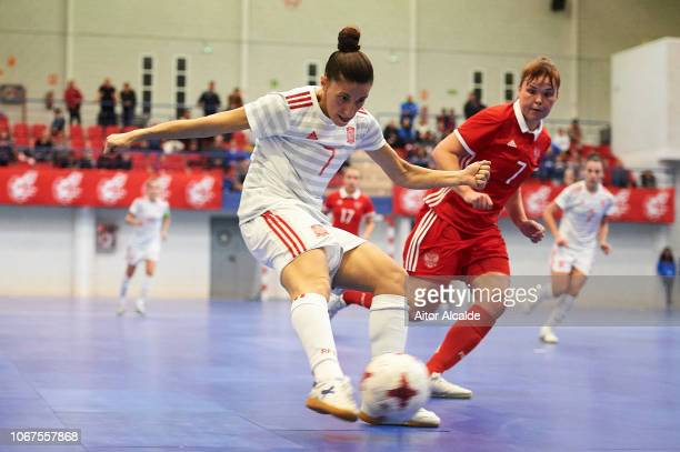 Amparo Jimenez Lopez of Spain being followed by Alemaikina Oksana of Russia during a friendly futsal match between Spain and Russia on November 14...