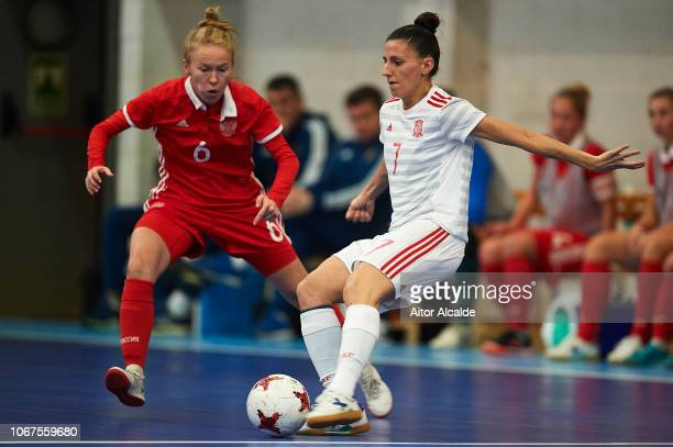Amparo Jimenez Lopez of Spain being followed by Olkova Ksenia of Russia during a friendly futsal match between Spain and Russia on November 14 2018...