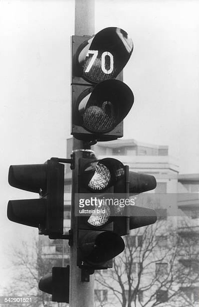 Ampel mit Anzeiger für die empfohlene Geschwindigkeit 1971